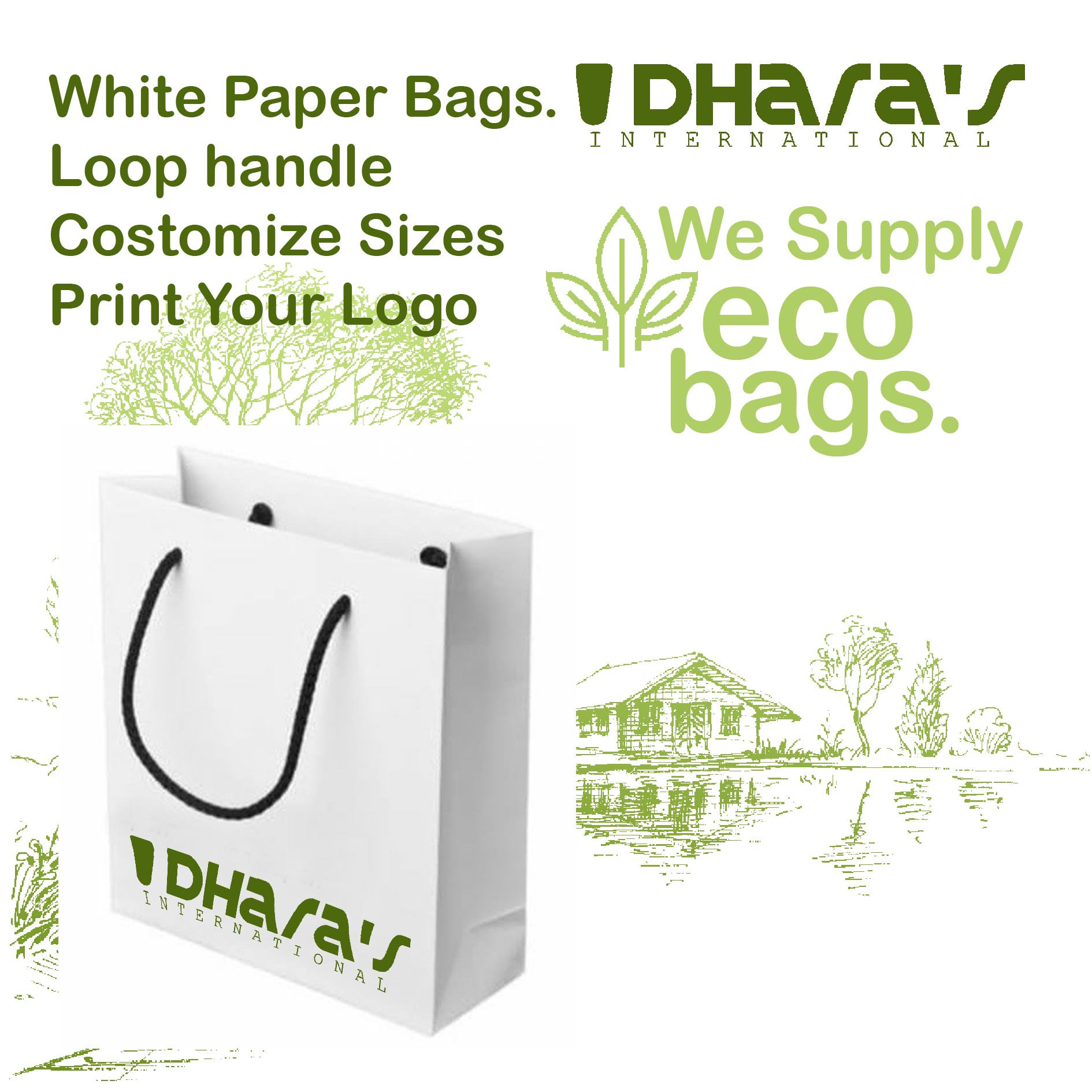 White Paper Carry Bags Dharas Eco Bags