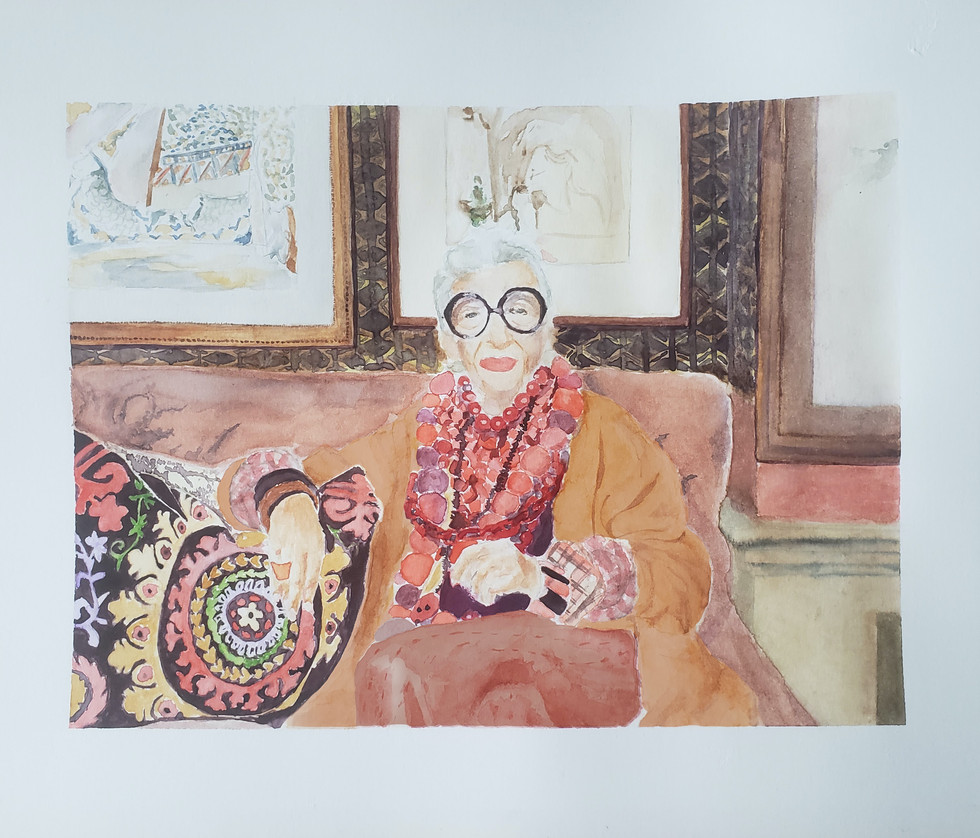 Watercolor Painting of Iris Apfel, from Photo
