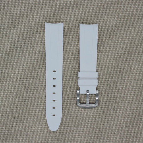 20mm Curved Ended White Rubber Strap