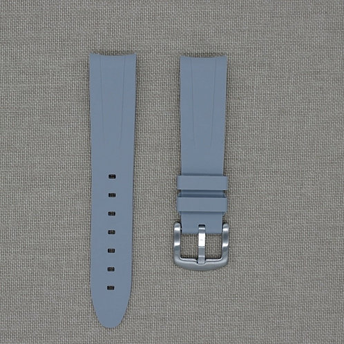 20mm Curved Ended Grey Rubber Strap