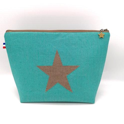 Trousse de toilette lin turquoise étoile cassonade