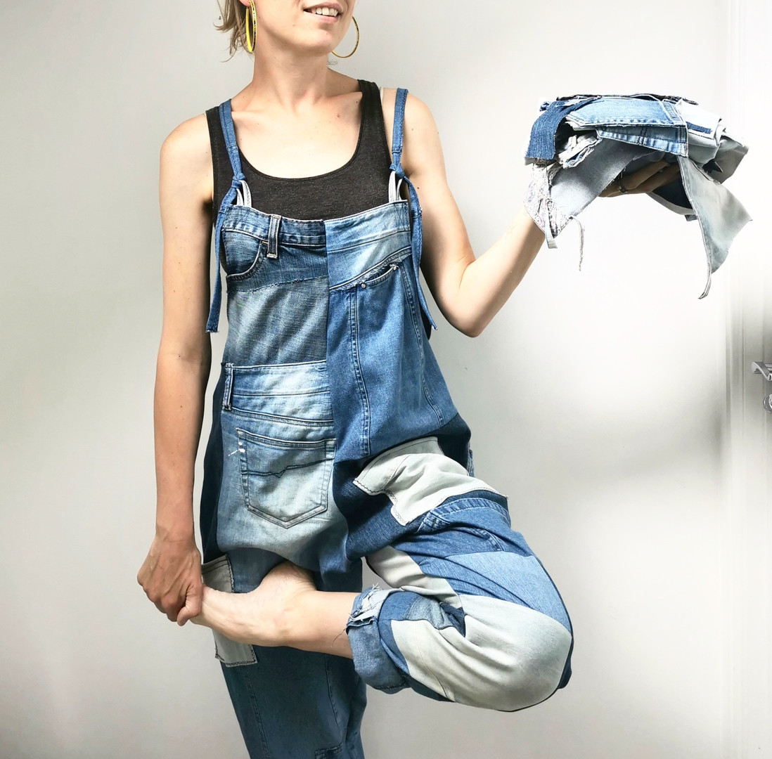 Emma's Scrappy Dungarees