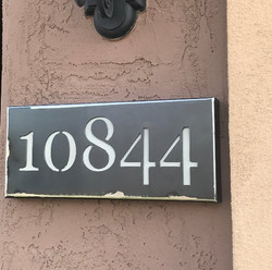 Address Plate with White Text