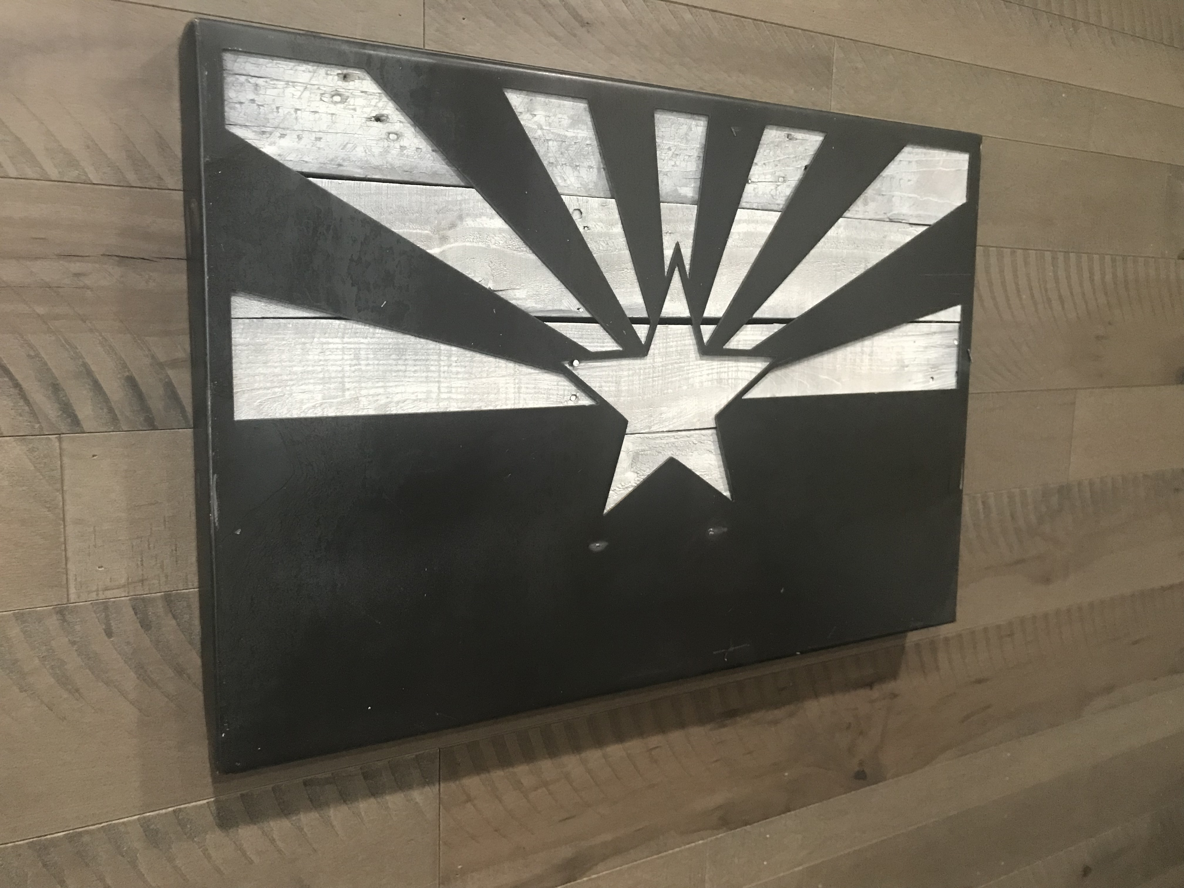 Metal Flag with Wood Backing