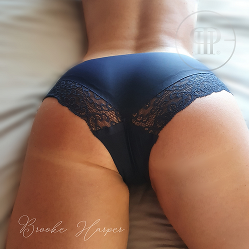 Worn Deep Blue Panties - smooth and soft