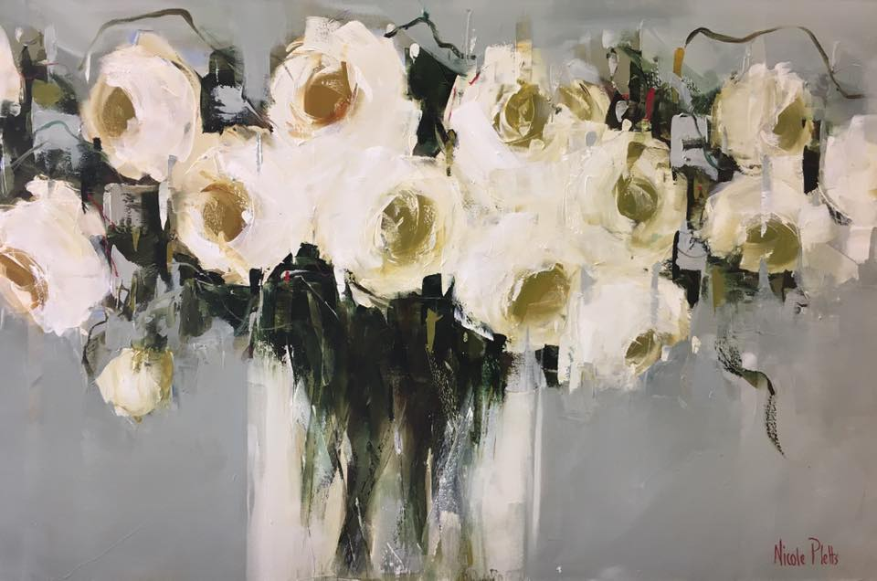 Nicole Pletts - White Roses  Oil on