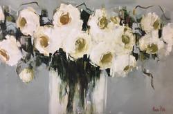 Nicole Pletts - White Roses  Oil on