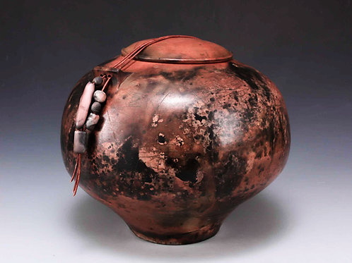 Saggar-fired lidded jar