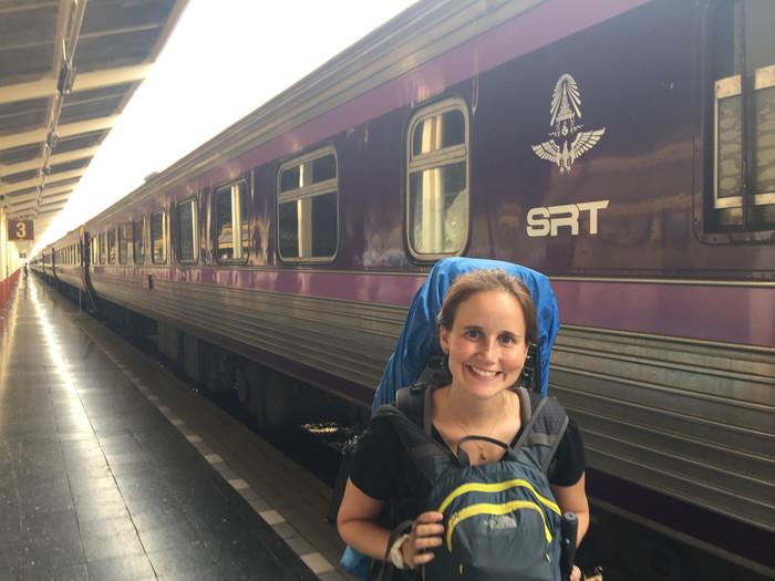 Viajando de trem na Tailândia
