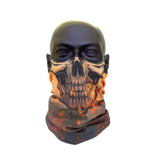 Burning Skull Gaiter Face Covering