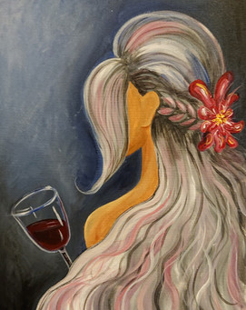 Woman and wine painting workshop in Tampere