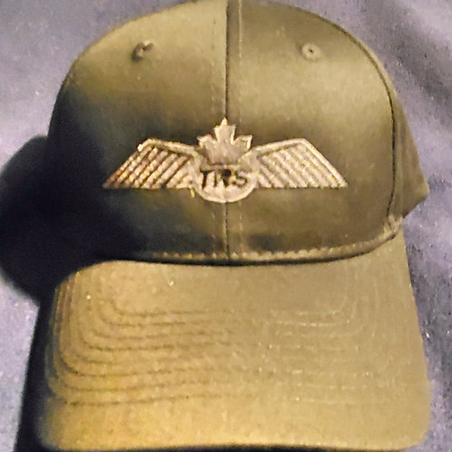 Black Ball Cap with Silver Wings