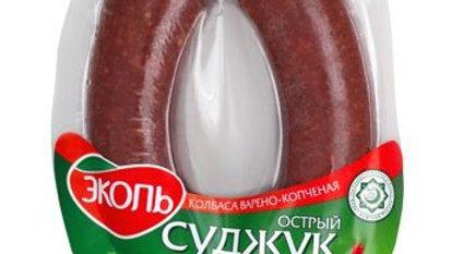 "Варено-копченая колбаса ""Суджук Острый Халяль"" кольцо в/у 300 гр"