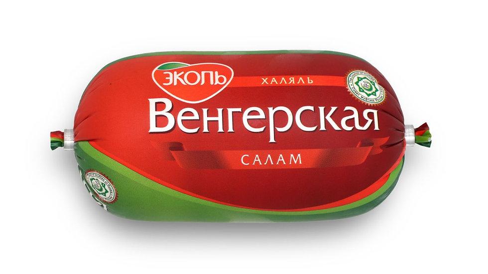 """Вареная колбаса ветчинная """"Салам Венгерская Халяль"""" минибатон 450 гр."""