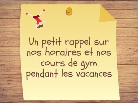 Gymnastique pendant les vacances scolaires