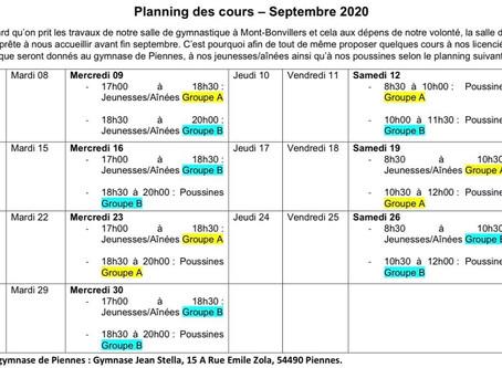 Planning des entraînements de septembre