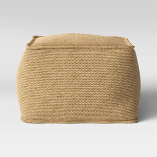 Large Natural Woven Pouf