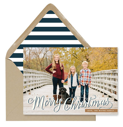 Wayne striped christmas card