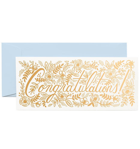 Champagne Floral Congrats Greeting Card