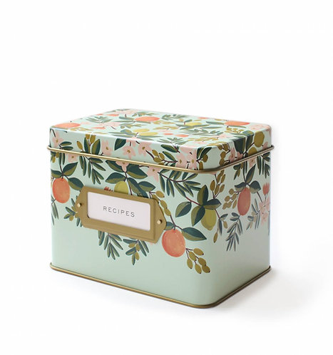 Citrus Floral Tin Recipe Box + Cards