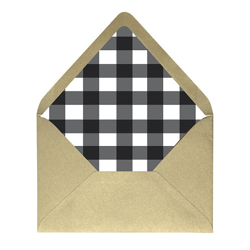 Black and White Buffalo Plaid Envelope Liner