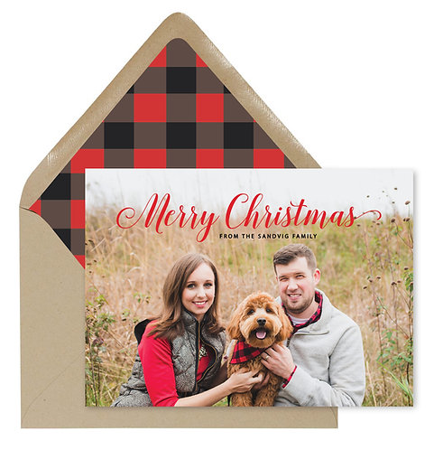 Sandvig plaid christmas card