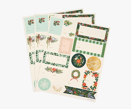 Winter Floral Gift Stickers & Labels