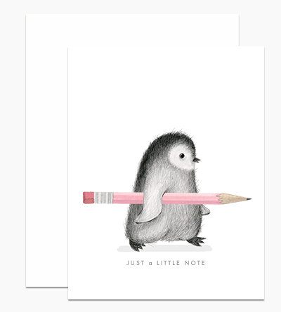 Fuzzy Penguin Note Greeting Card