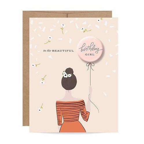 Birthday Girl Button Card