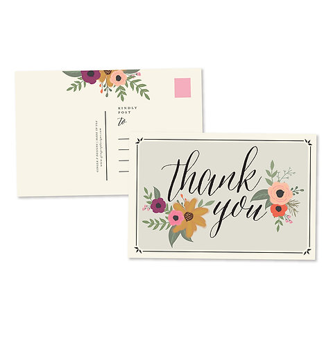 Thank You Floral Postcard Set