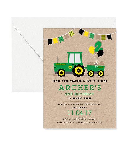 Tractor Birthday Invites