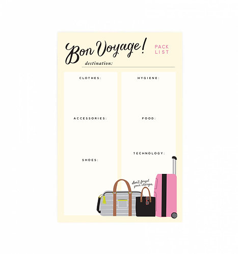 Bon Voyage Pack This Notepad