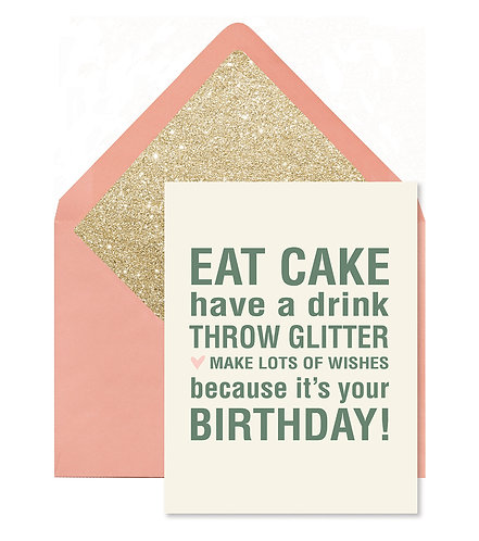 Eat Cake Throw Glitter Greeting Card