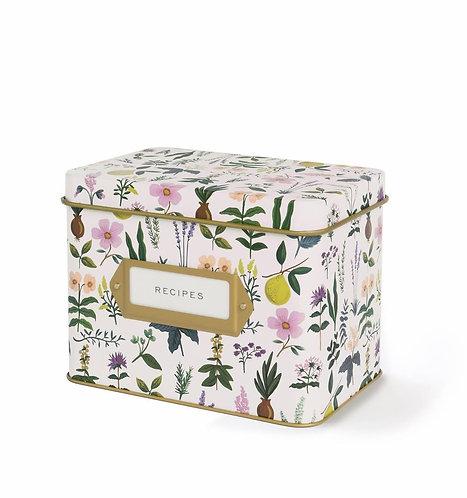 Herb Garden Tin Recipe Box + Cards
