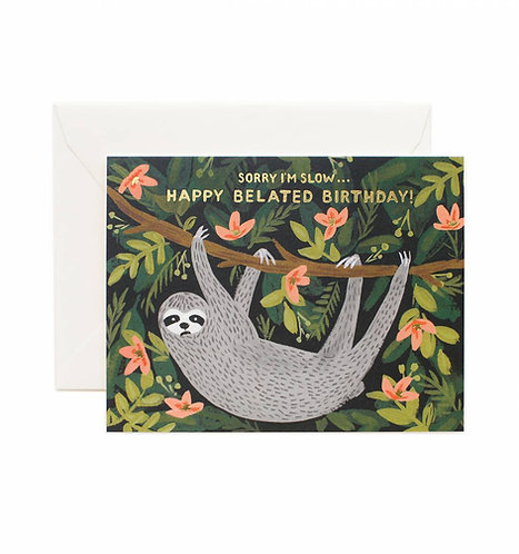 Sloth Belated Birthday Greeting Card