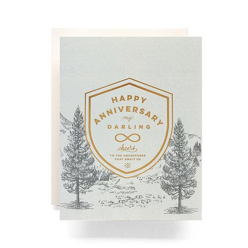 Crest Anniversary Greeting Card