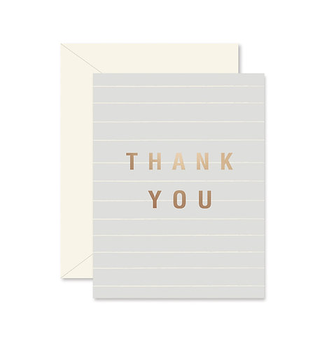 Gray Lines Thank You Greeting Card