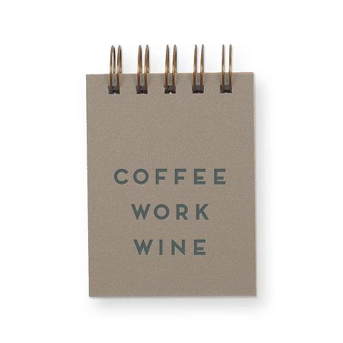 Coffee Work Wine Mini Jotter Notebook