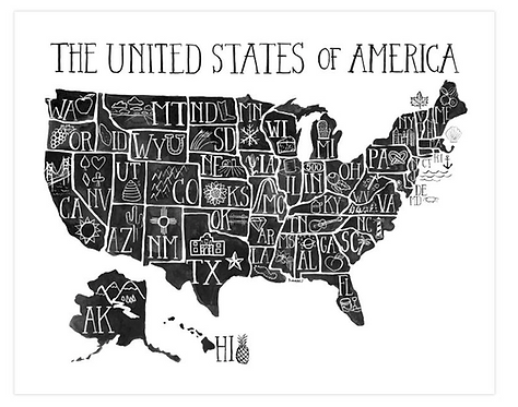 US Map Black and White Art Print
