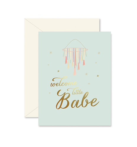 Welcome Little Babe Tassels Greeting Card
