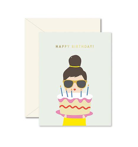 Birthday Cake Lady Greeting Card