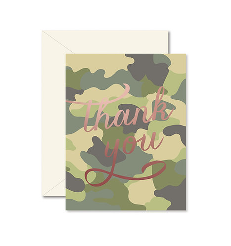 Camo Thank You Greeting Card