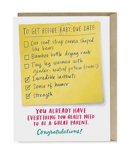 Due Date Baby Checklist Greeting Card