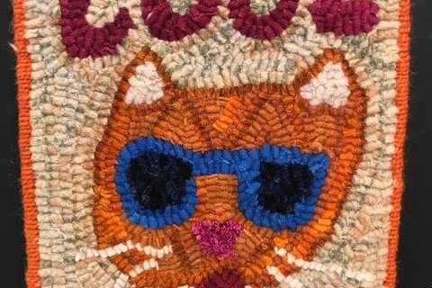 """Cool Cat"" Hooked Wool"