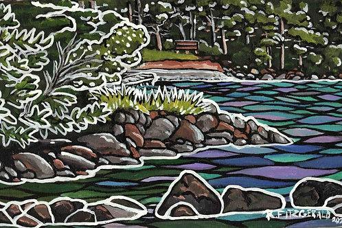 """Fishing Spots"" (2021) Original 10 x 20"" acrylic on canvas painting"