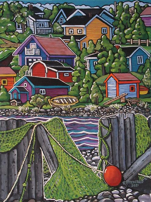 """Green's Harbour Sea Wall"" (2021) Original 24 X 18"" acrylic on canvasReillyFitz"