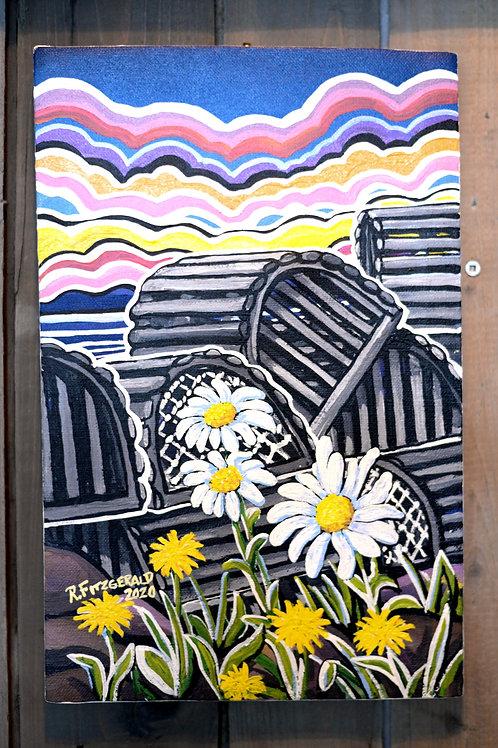 """Pots & Petals"" (2020) Original 13.5 X 9 Canvas Reilly Fitzgerald Artist"