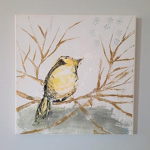 """Yellow Bird & Branches"" Original 14X14 Acrylic on Canvas K.Fitzgerald"