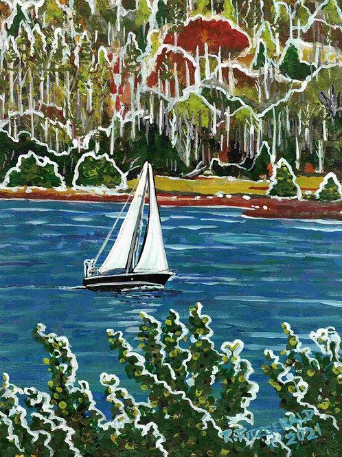 """Sailing Random Sound"" (2021) Original 14 X 10"" acrylic on paper ReillyFitzgerad"