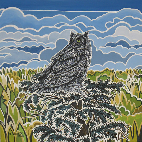 """""""Looking Back: Great Horned Owl at Denny's Pond"""" (2020)Original 36X 36"""" acrylic"""